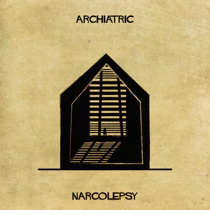 Ilustração de uma casa representando a narcolepsia
