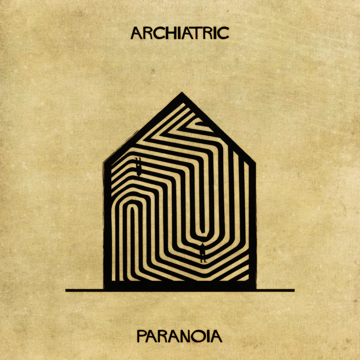 Ilustração de uma casa representando a a paranoia