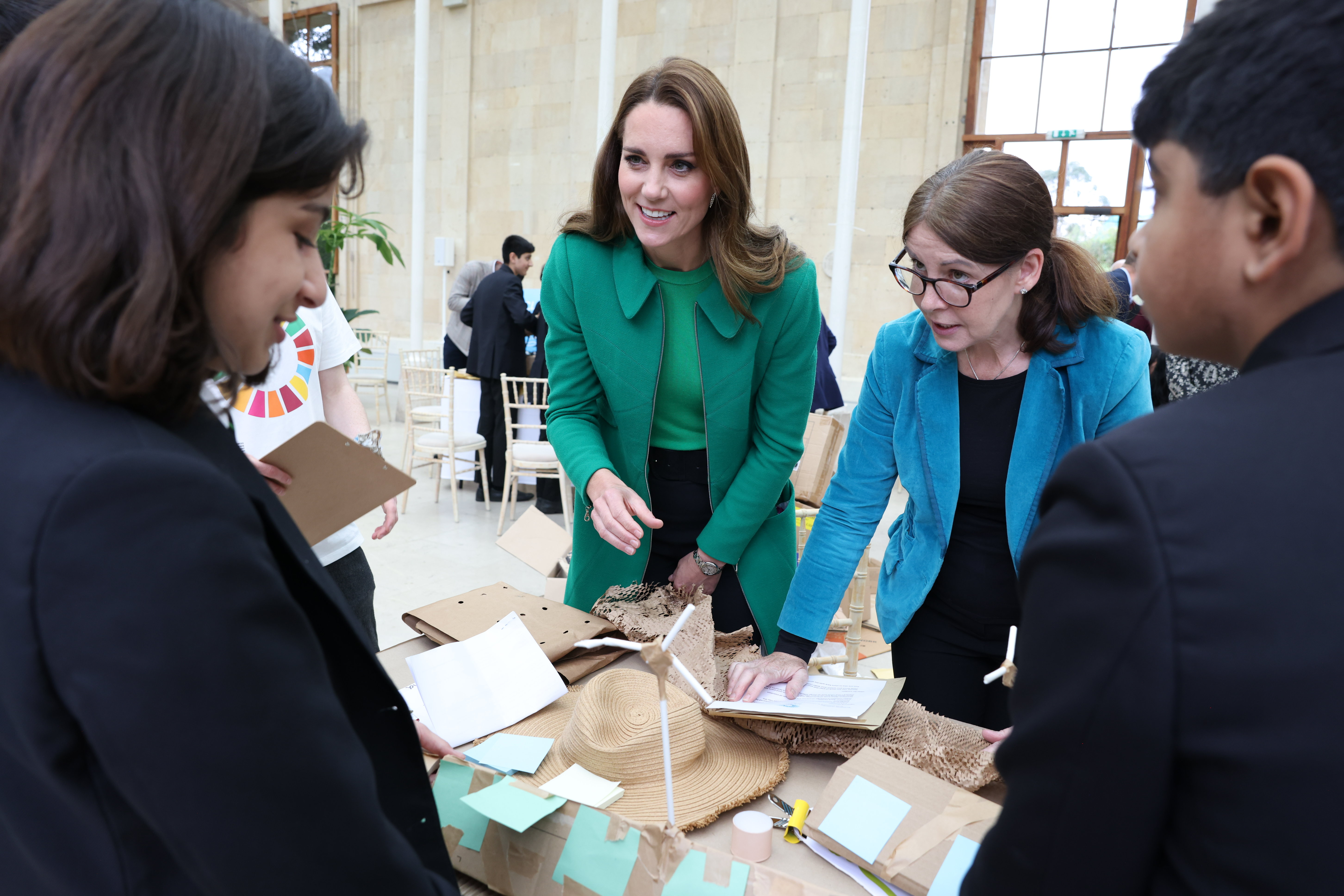 LONDON, ENGLAND - OCTOBER 13: Prince William, Duke of Cambridge (not pictured) and Catherine, Duchess of Cambridge visit Kew Gardens to take part in a Generation Earthshot event with children from The Heathlands School, Hounslow to generate big, bold ideas to repair the planet and to help spark a lasting enthusiasm for the natural world on October 13, 2021 in London, England. At the Royal Botanic Gardens, Their Royal Highnesses will join the Mayor of London; explorer, naturalist and presenter Steve Backshall MBE; Olympian Helen Glover and students to take part in a series of fun, engaging and thought-provoking activities developed as part of Generation Earthshot, an educational initiative inspired by The Earthshot Prize. (Photo by Ian Vogler-WPA Pool/Getty Images)
